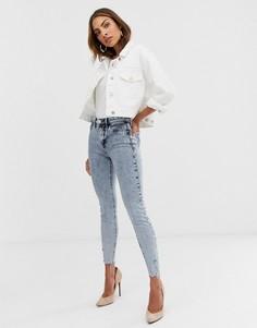 Светлые джинсы скинни с эффектом кислотной стирки River Island Molly - Синий