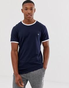 Темно-синяя футболка с кантом Jack Wills Baildon - Темно-синий