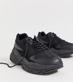 Черные кроссовки с толстой подошвой для широкой стопы ASOS DESIGN - Черный