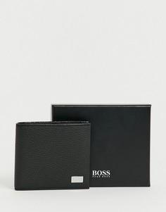 Черный кожаный бумажник с логотипом BOSS - Черный