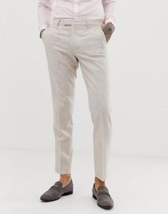 Узкие твидовые брюки с добавлением шерсти Harry Brown wedding - Кремовый