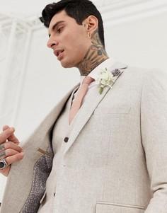Зауженный пиджак из твида с добавлением шерсти Harry Brown Wedding - Кремовый