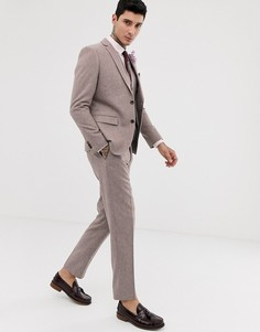 Узкие твидовые брюки с добавлением шерсти Harry Brown wedding - Розовый