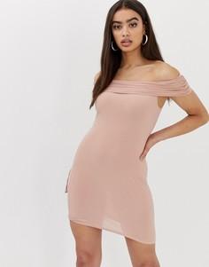 Облегающее платье с широким вырезом Club L - Розовый
