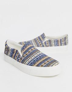 Синие кеды-слипоны с ацтекским принтом ASOS DESIGN - Синий