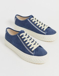 Синие саржевые кроссовки с фактурной подошвой ASOS DESIGN - Синий