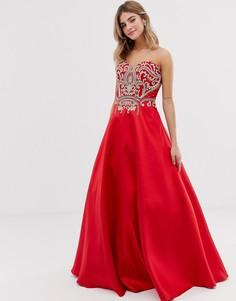 Платье макси с пышной юбкой Jovani - Красный