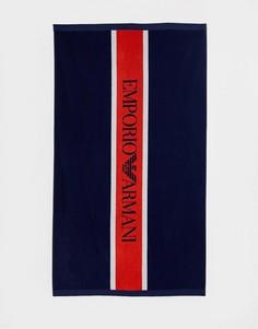 Темно-синее пляжное полотенце с логотипом Emporio Armani - Темно-синий
