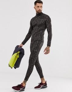 Джоггеры с леопардовым принтом из быстросохнущей ткани ASOS - Коричневый