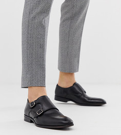 Черные кожаные монки для широкой стопы Silver Street - Черный
