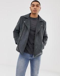 Серая байкерская куртка из искусственной замши ASOS DESIGN - Серый