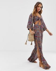 Расклешенные брюки с принтом пейсли Raga Desert Flower - Мульти