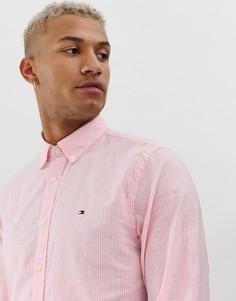 Рубашка из хлопка и льна в полоску Tommy Hilfiger - Розовый