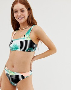 Укороченный бикини-топ с тропическим принтом Roxy Pop Surf - Мульти
