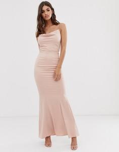 Розовое платье макси со свободным воротом Lipsy - Розовый