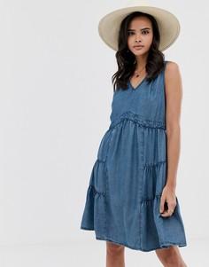 Свободное джинсовое платье из шамбре Esprit - Синий