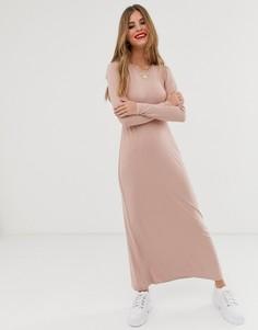 Платье макси с длинными рукавами ASOS DESIGN - Розовый