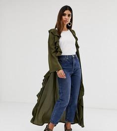 Легкое пальто оливкового цвета с оборками Verona - Зеленый