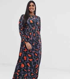 Трикотажное платье макси с длинными рукавами и леопардовым принтом Verona Curve - Мульти