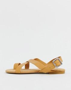 Светло-коричневые сандалии с ремешками Monki - Коричневый