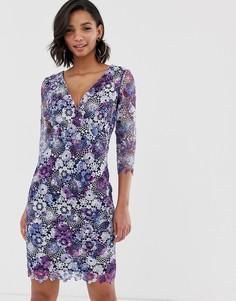 Кружевное платье-футляр миди с длинным рукавом, V-образным вырезом и цветочным принтом Paper Dolls - Мульти