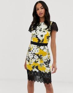 Платье миди с короткими рукавами и цветочным принтом Paper Dolls - Мульти