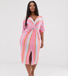 Платье миди в полоску с перекрутом Missguided Plus - Мульти