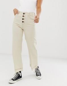 Бежевые джинсовые кюлоты на пуговицах Bershka - Белый