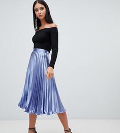 Голубая плиссированная юбка миди Missguided - Синий