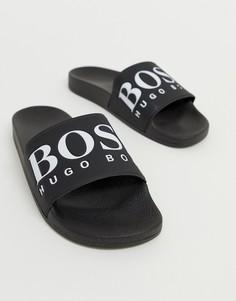 Черные шлепанцы с логотипом BOSS - Черный