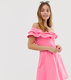 Сарафан с открытыми плечами и двойной оборкой ASOS DESIGN Petite - Розовый