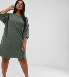 Свободное платье-футболка с необработанными краями ASOS DESIGN Curve - Зеленый