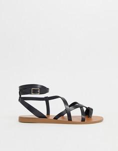 Черные кожаные сандалии ALDO Gludda - Черный