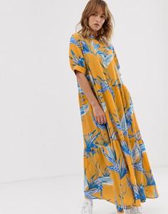 Платье макси с цветочным принтом и короткими рукавами Weekday - Мульти