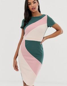 Платье-футляр в стиле колор блок с короткими рукавами Paper Dolls - Мульти