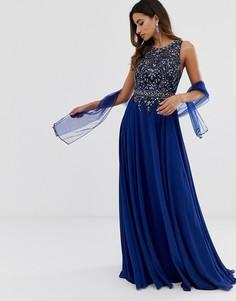 Платье макси с отделкой бисером на лифе Jovani - Темно-синий