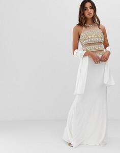 Платье макси с отделкой Jovani - Белый