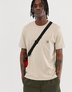 Футболка кремового цвета с короткими рукавами и карманом Carhartt WIP - Бежевый