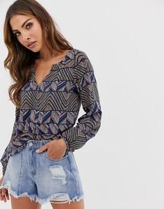 Синяя блузка с V-образным вырезом и ацтекским узором Esprit - Мульти