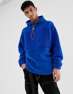 Oversize-худи синего цвета со вставками из флиса и искусственного меха ASOS DESIGN - Синий
