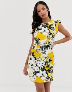 Платье с короткими рукавами и контрастным цветочным принтом Paper Dolls - Мульти