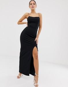Черное платье макси с квадратным вырезом Club L London - Черный