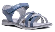 Туфли для девочки голубые/серебро Barkito