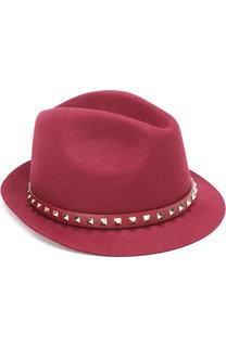 Шляпа valentino garavani из ангоры с кожаным ремешком и заклепками Valentino