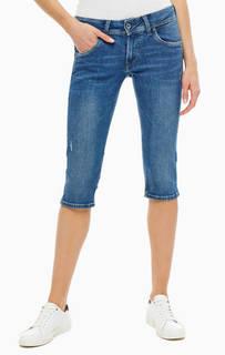 Бриджи Джинсовые бриджи с потертостями Saturn Crop Pepe Jeans