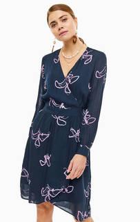 Платье из вискозы с расклешенной юбкой Selected