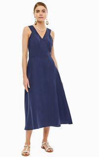 Платье Темно-синее платье на бретелях с запахом Stefanel