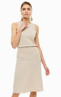 Платье Бежевое платье из хлопка с расклешенной юбкой Stefanel