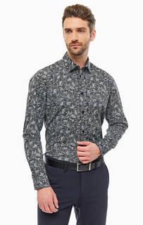 Рубашка серого цвета с цветочным принтом. Выполнена из плотного хлопка в повседневном стиле. Приталенный крой, длинные рукава, застегивается на пуговицы. Selected