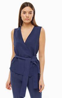 Блуза темно-синего цвета с запахом Stefanel